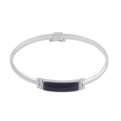 Rectangular Obsidian Pendant Bracelet from Peru