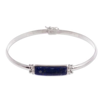 Lapis lazuli pendant bracelet, 'Andean Rectangle' - Rectangular Lapis Lazuli Pendant Bracelet from Peru
