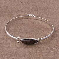 Mahogany obsidian pendant bracelet, 'Fantastic Eye' - Obsidian and Sterling Silver Pendant Bracelet from Peru