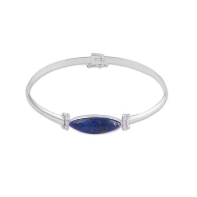 Lapis lazuli pendant bracelet, 'Fantastic Eye' - Lapis Lazuli and Sterling Silver Pendant Bracelet from Peru