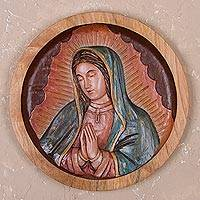 Cedar wood relief panel, 'Holy Virgin'