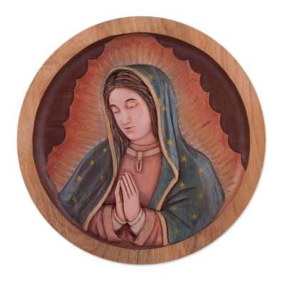Cedar wood relief panel, 'Holy Virgin' - Handcrafted Cedar Wood Relief Panel of Virgin of Guadalupe