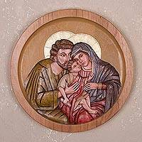 Cedar wood relief panel, 'Family of Christ' - Handcrafted Cedar Wood Relief Panel of Holy Family