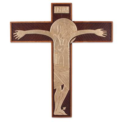 Cedar wood and bronze leaf wall cross, 'Byzantine Christ in Gold' - Handcrafted Cedar and Bronze Leaf Wall Cross from Peru