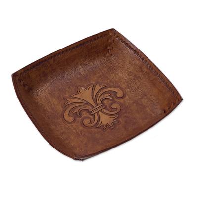 Leather catchall, 'Andean Fleur-de-Lis' - Peru Handcrafted Tooled Leather Andean Fleur-de-Lis Catchall