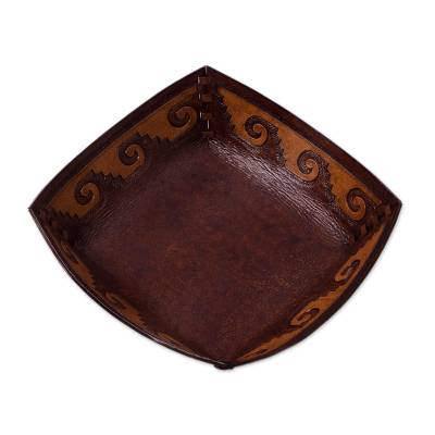 Leather catchall, 'Inca Seacoast' - Handcrafted Tooled Leather Inca Wave Motif Catchall