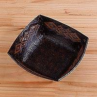 Leather catchall, 'Kuelap Memories' - Pre-Hispanic Motif Handcrafted Tooled Leather Catchall