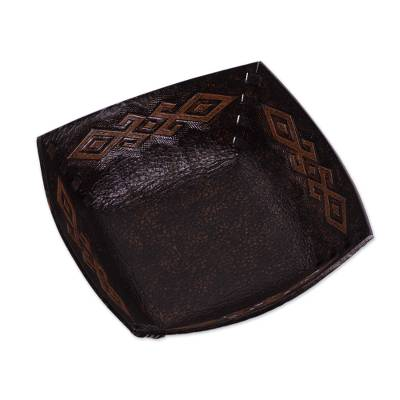 Pre-Hispanic Motif Handcrafted Tooled Leather Catchall