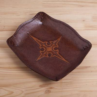 Leather catchall, 'Gothic Cross' - Leather Embossed Catchall Featuring a Gothic Cross