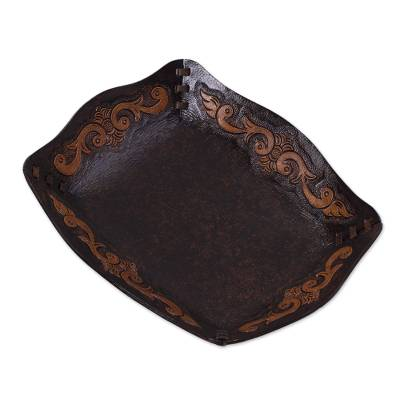 Peru Handcrafted Tooled Leather Colonial Art Theme Catchall