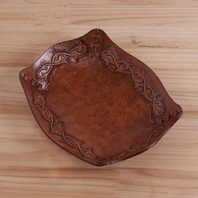 Leather catchall, 'Bramblebush' - Peruvian Handcrafted Tooled Leather Andean Catchall