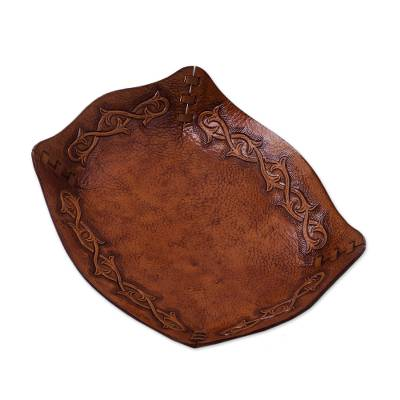 Peruvian Handcrafted Tooled Leather Andean Catchall