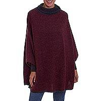 100% baby alpaca poncho with sleeves,