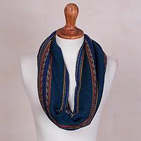 100% baby alpaca infinity scarf, 'Blue Baroque' - 100% Baby Alpaca Infinity Scarf in Blue from Peru