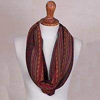 100% baby alpaca infinity scarf, 'Wine Baroque' - 100% Baby Alpaca Infinity Scarf in Wine from Peru