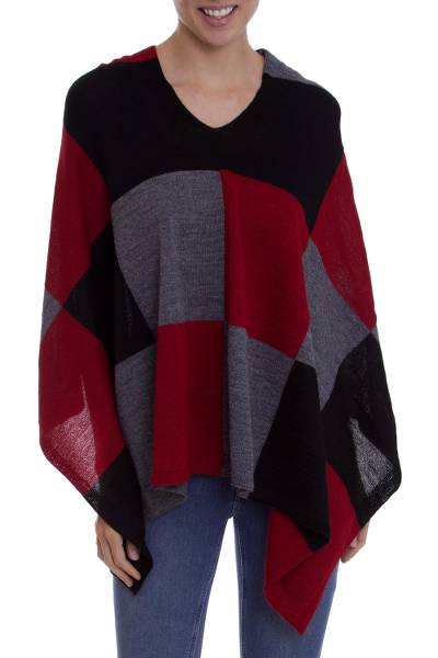 100% baby alpaca poncho, 'Checkmate in Red' - Baby Alpaca Knit Poncho with Red Grey and Black Squares