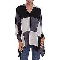 100% baby alpaca poncho, 'Checkmate in Alabaster' - Baby Alpaca Knit Poncho with Grey, Ivory and Black Squares