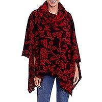 100% baby alpaca poncho, 'Field of Roses' - Black and Red Rose Design 100% Baby Alpaca Poncho from Peru