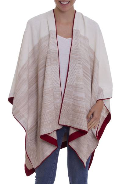 White and Beige 100% Baby Alpaca Knit Ruana with Red Borders