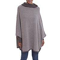 100% baby alpaca poncho, 'Legacy of the Incas in Sage' - 100% Baby Alpaca Knit Poncho with Sleeves in Green from Peru