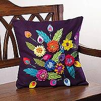 Applique cushion cover, 'Floral Extravaganza' - Eggplant Purple Cushion Cover with Felt Flower Appliques