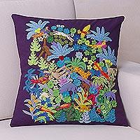 Applique cushion cover, 'Vibrant Jungle' - Eggplant Purple Cushion Cover with Jungle-Themed Applique