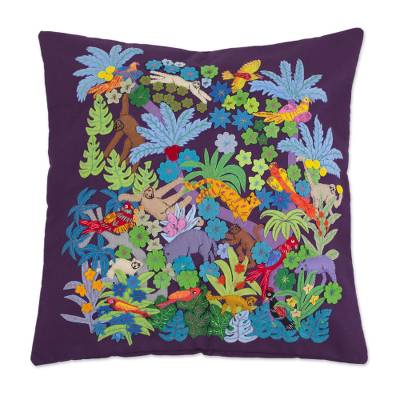 Applique cushion cover, 'Vibrant Jungle' - Eggplant Purple Cushion Cover with Jungle-Themed Applique