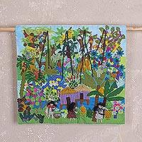 Cotton blend arpillera wall hanging, 'Lively Jungle' - Cotton Blend Arpillera Wall Hanging of the Peruvian Jungle