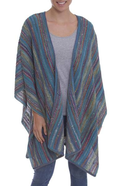 100% Alpaca knit ruana, 'Dream Weaver' - Striped Multi-Color and Turquoise 100% Alpaca Ruana