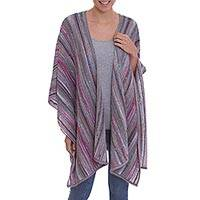 100% Alpaca knit ruana, 'Spun Candy' - Striped Multi-Color Pink and Grey 100% Alpaca Ruana