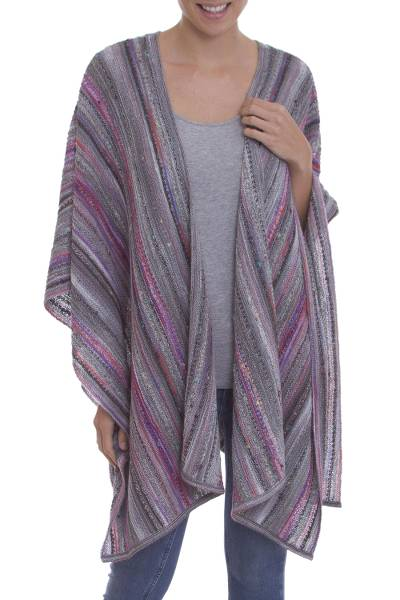 Striped Multi-Color Pink and Grey 100% Alpaca Ruana