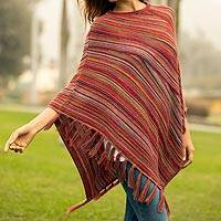 100% Alpaca poncho, 'Swirling Fire' - Multi-Color Striped 100% Alpaca Wool Knit Fringed Poncho