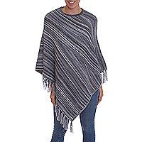 100% Alpaca poncho, 'Swirling Clouds' - Black and Grey Striped 100% Alpaca Wool Knit Fringed Poncho