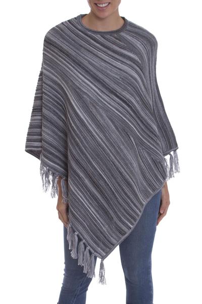 Black and Grey Striped 100% Alpaca Wool Knit Fringed Poncho