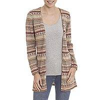 100% alpaca cardigan, 'Pattern Aplenty' - Earth Tone Patterned Striped 100% Alpaca Knit Cardigan