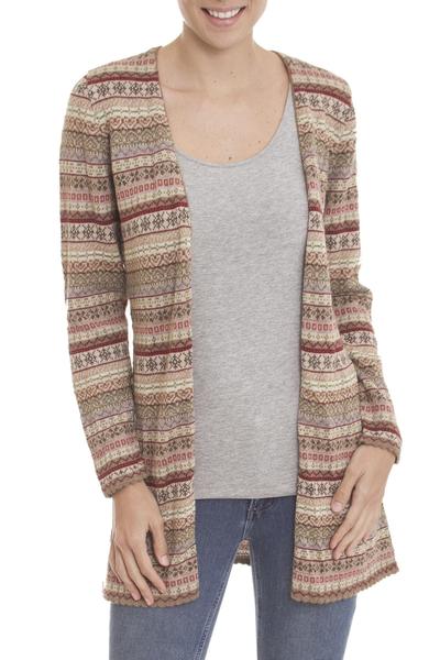 100% alpaca cardigan, 'Pattern Aplenty' - Earth Tone Patterned Striped 100% Alpaca Knit Cardigan