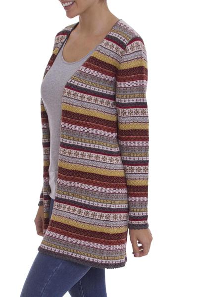 9d468f7d5b2 Multi-Color Patterned Striped 100% Alpaca Knit Cardigan, 'Pattern  Cornucopia'