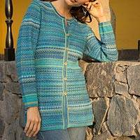 100% Alpaca knit cardigan, 'Texture Trove' - Striped Blue 100% Alpaca Knit Cardigan