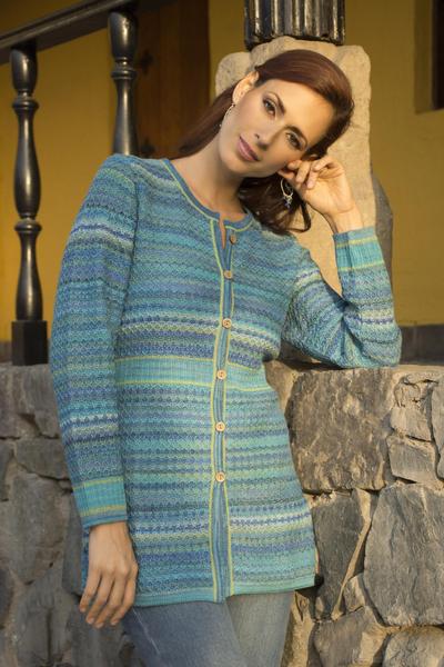 100% alpaca cardigan, 'Texture Trove' - Striped Blue 100% Alpaca Knit Cardigan