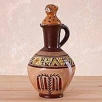 Ceramic decorative vase, 'Andean Jaguar' - Andean Jaguar Theme Handcrafted Ceramic Decorative Vase