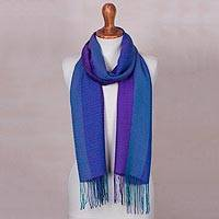 Baby alpaca blend scarf, 'Andean Skies' - Baby Alpaca Blend Hand Woven Bold Blue Striped Scarf