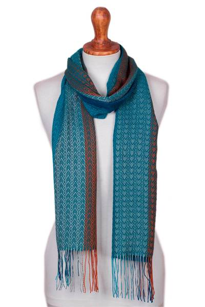 Baby alpaca blend scarf, 'Tropical Rain' - Baby Alpaca Blend Hand Woven Blue and Orange Striped Scarf