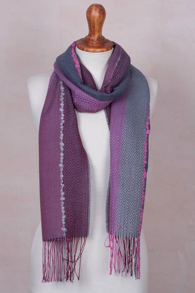 Baby alpaca blend scarf, 'Rosy Splendor' - Baby Alpaca Blend Hand Woven Pink and Grey Striped Scarf