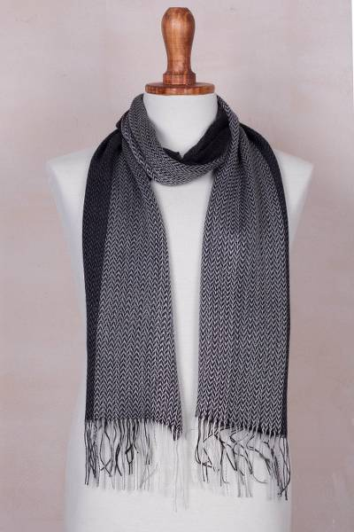 Baby alpaca blend scarf, 'Emboldened' - Handwoven Black and Grey Baby Alpaca Blend Scarf from Peru