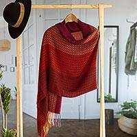 Baby alpaca blend shawl, 'Flourish' - Handwoven Red and Purple Baby Alpaca Blend Shawl from Peru