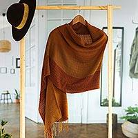 Baby alpaca blend shawl, 'Autumn Glory' - Handwoven Autumn-Colored Baby Alpaca Blend Shawl from Peru
