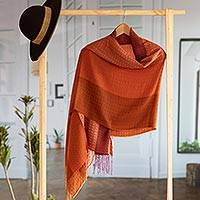 Baby alpaca blend shawl, 'Blazing Warmth' - Handwoven Red and Orange Baby Alpaca Blend Shawl from Peru