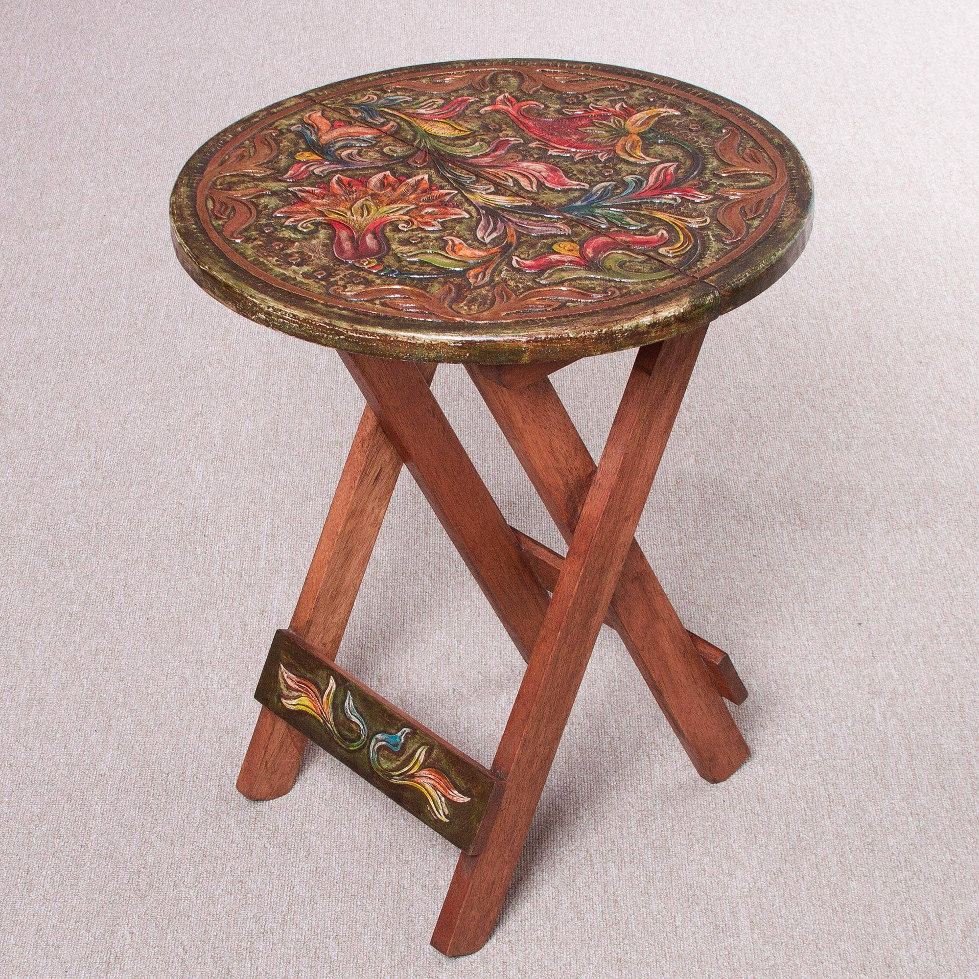 Royal flowers handcrafted wood and leather folding table from peru