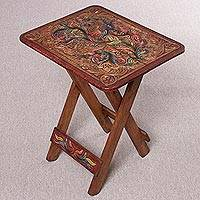Wood and leather folding accent table, 'Royal Birds' - Handcrafted Wood and Leather Folding Table from Peru