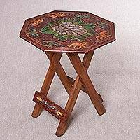 Wood and leather folding table, 'Grape Delight'